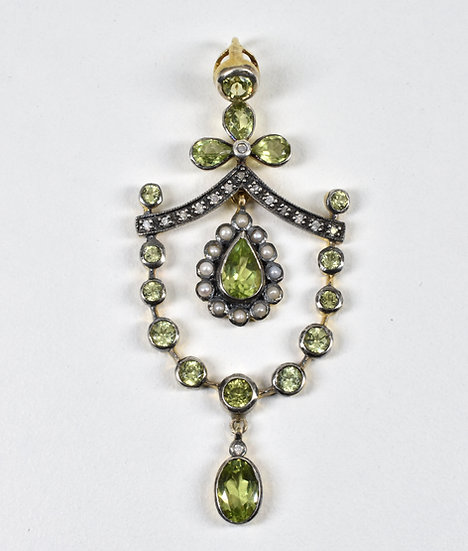 Antique Victorian 18ct Gold Backed Silver Peridot Diamond & Seed Pearl Pendant