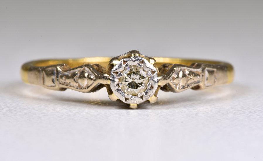 Antique Art Deco 18ct Gold & Platinum Diamond Solitaire Ring, (1930's)