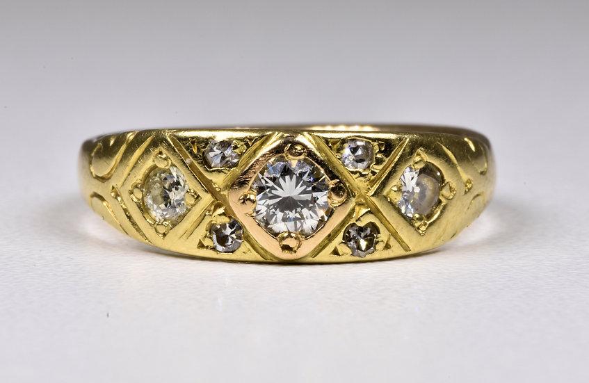 Antique Victorian 18ct Gold Diamond Gypsy Ring, (Birmingham,1863)