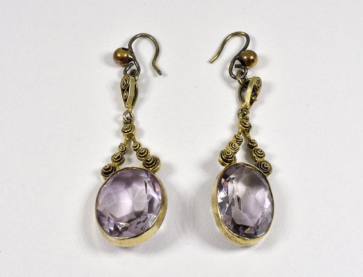 Antique Victorian 9ct Gold & Amethyst Drop Pendant Earrings, c1880