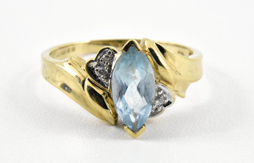 Ladies 9ct Gold Diamond & Aquamarine Ring, UK Size P, U.S. Size 7 3/4