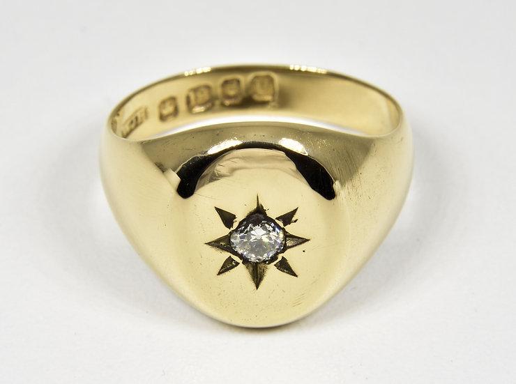 Antique Victorian 18ct Gold & Diamond Signet Ring, (London,1895)