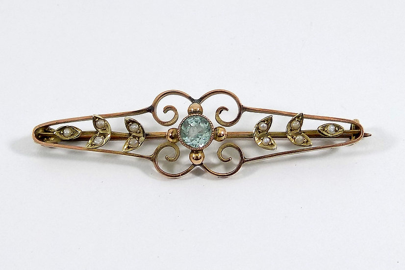 Antique 9ct Gold Victorian Aquamarine & Seed Pearl Bar Brooch c1890