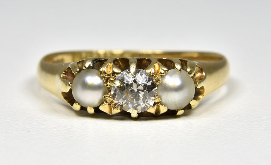 Antique Edwardian 18ct Gold Diamond & Pearl Ring (Chester,1906)