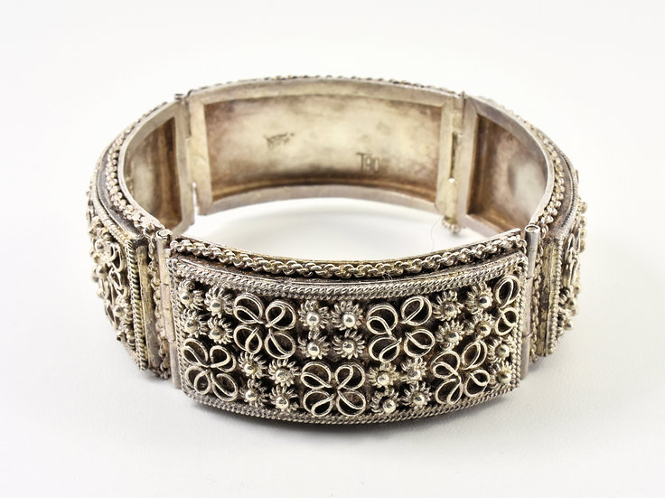Antique 19th Century Solid Silver Filigree Bracelet (Cambodia, c1880)