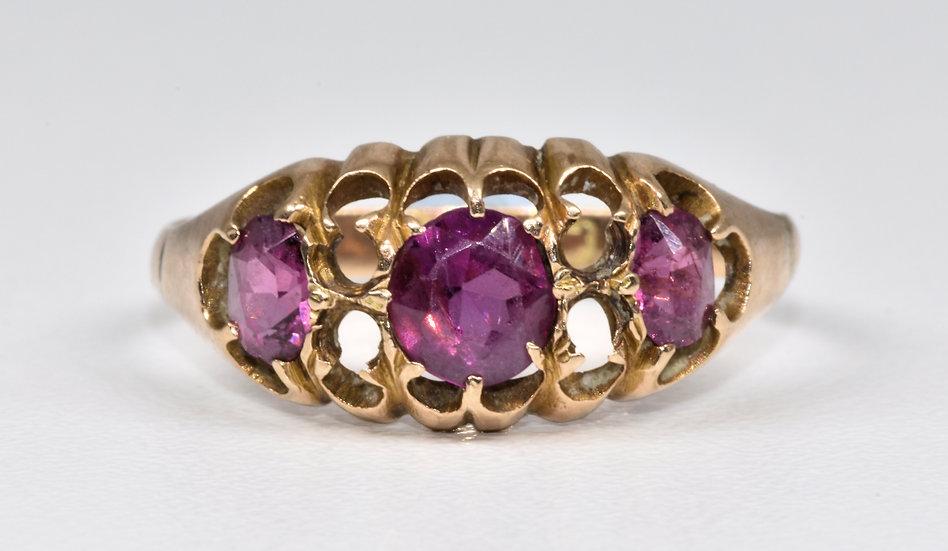 Antique Victorian 9ct Rose Gold Almandine Garnet Ring, (Chester, c1880)