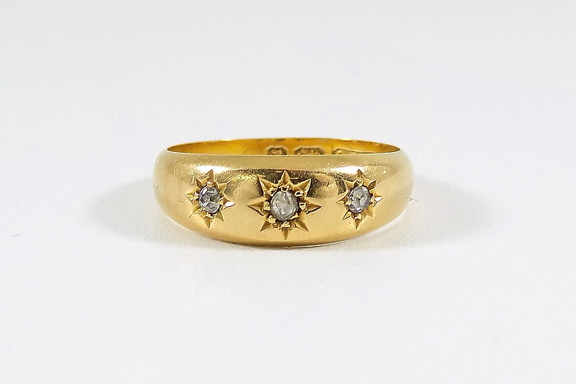 Antique Victorian 18ct Gold 3 Stone Gypsy Ring,1898