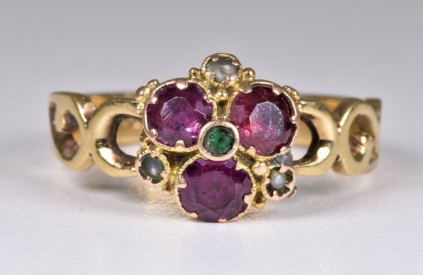 Antique Victorian 9ct Gold Almandine Garnet, Seed Pearl & Emerald Ring, c1880