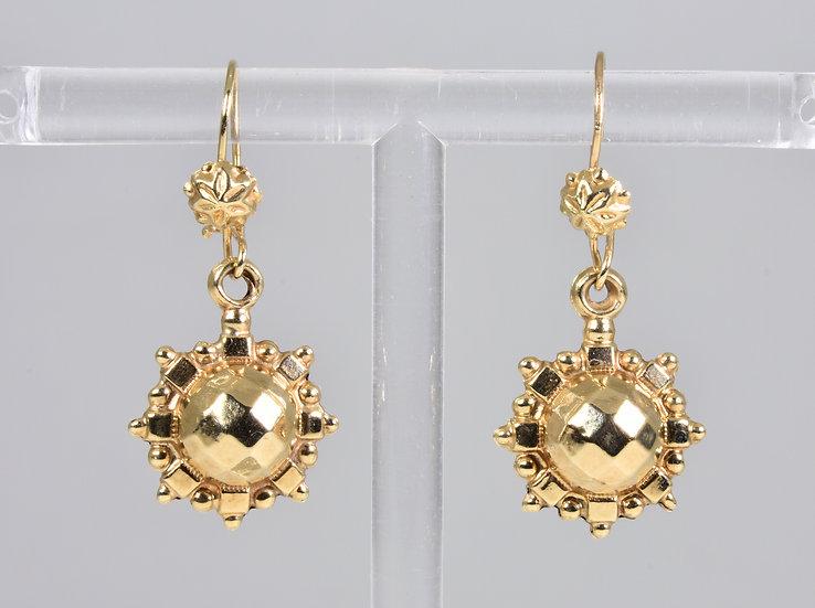 Vintage 9ct Gold Victorian Style Drop Earrings, (London, 1978)