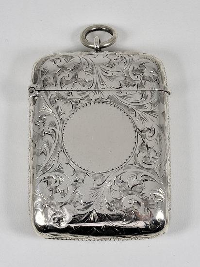 Antique English Victorian Solid Silver Vesta Case (S Blanckensee & Son, 1895)