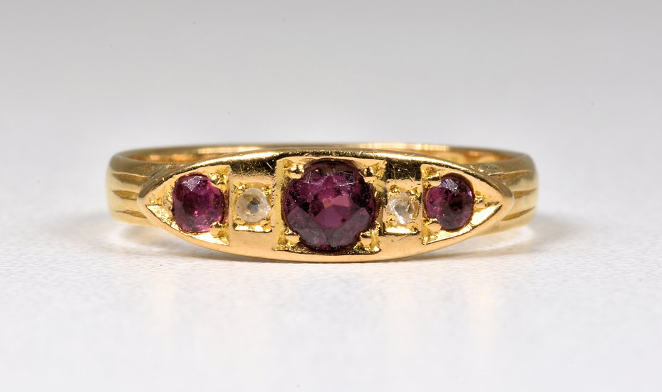 Antique Victorian 22ct Gold Rubelite Tourmaline Diamond Boat Ring, (London,1867)