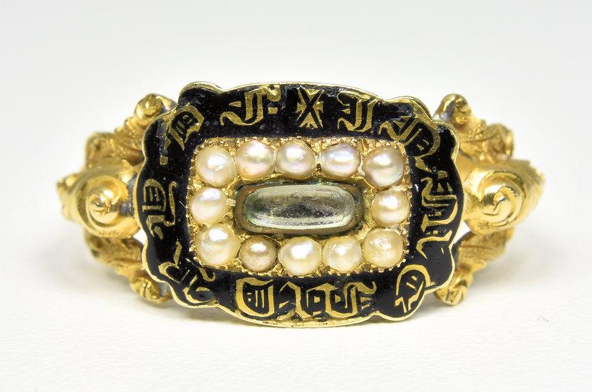 Antique 18ct Gold William IV Memorial Ring, (London,1834)