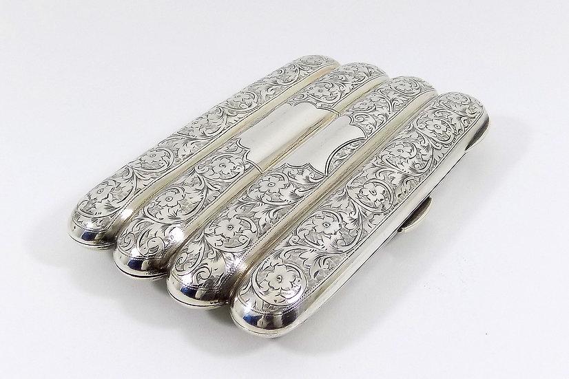 Antique English Edwardian solid Silver Cigar Case, (Hayes & Co, 1908, 162g)