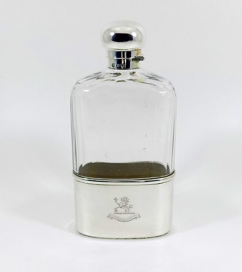 Large Antique Solid Silver & Glass Hip Flask with Sir Charles Cayzer Crest, 1905