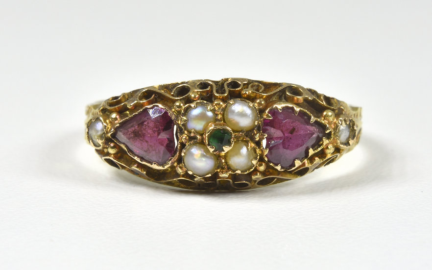 Antique Victorian 15ct Gold, Amethyst, Emerald & Seed Pearl Ring, (1876)