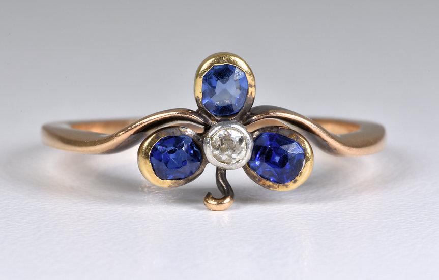 Antique Victorian 14/15ct Gold Sapphire Diamond Clover/Shamrock Ring, (c1880)