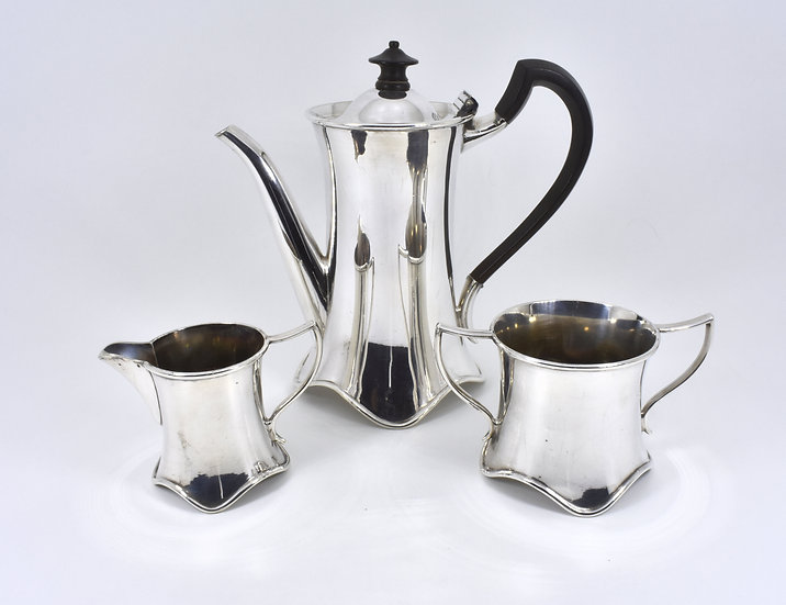 Antique English 3 Piece Silver Plated Coffee Set, (Elkington & Co, 1908)