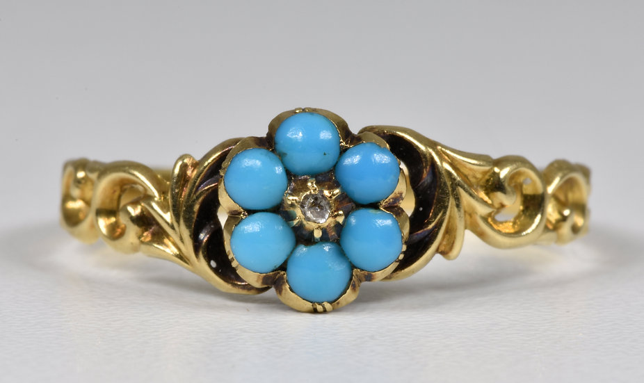 Antique Georgian 18ct Gold Forget Me Not Turquoise & Diamond Memorial Ring