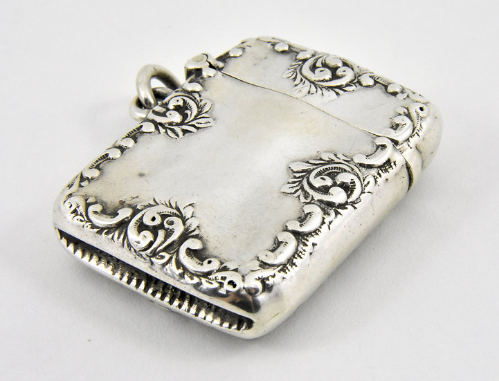 Antique English Art Nouveau Solid Silver Vesta Case, Henry Matthews, 1897