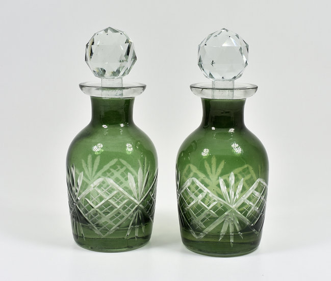 Antique Victorian Pair of Cut Glass Scent Bottles With Stoppers, Green (c1880)