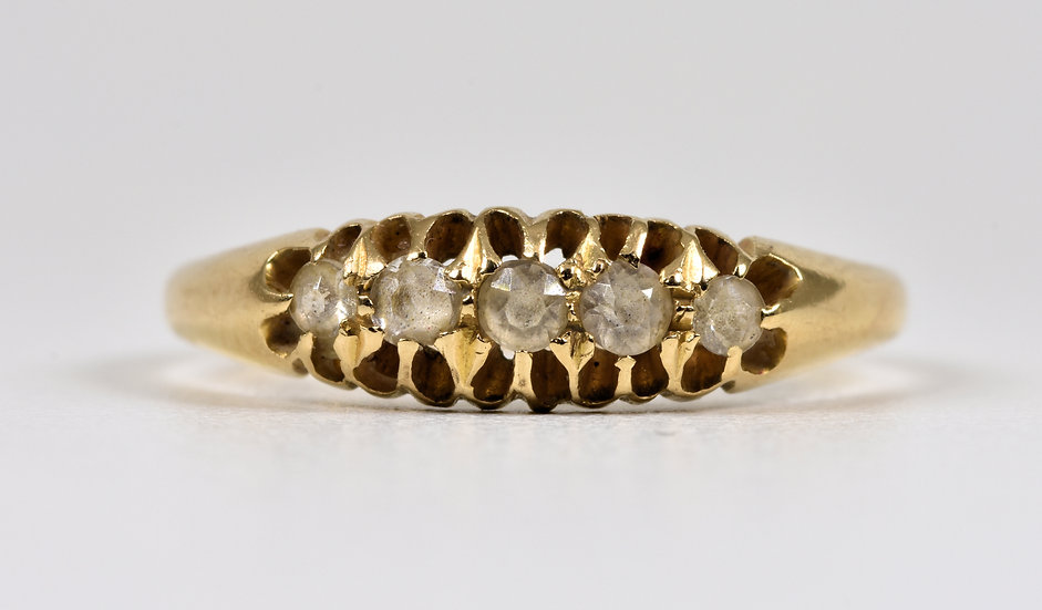 Antique George V 18ct Gold Old Cut Diamond Ring, (Chester, 1915)