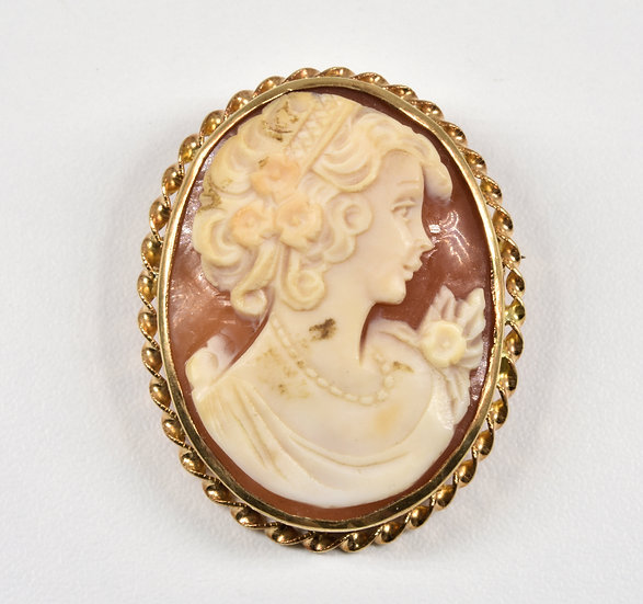 Vintage 9ct Gold Carved Shell Cameo Brooch/Pendant,1980's