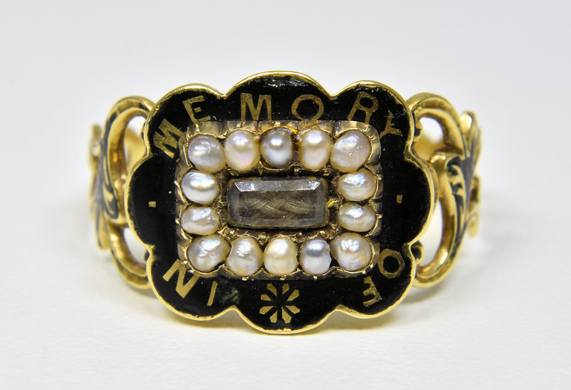 Antique 18ct Gold Eary Victorian Mourning Ring, (Thomas Alston, Birmingham,1840)