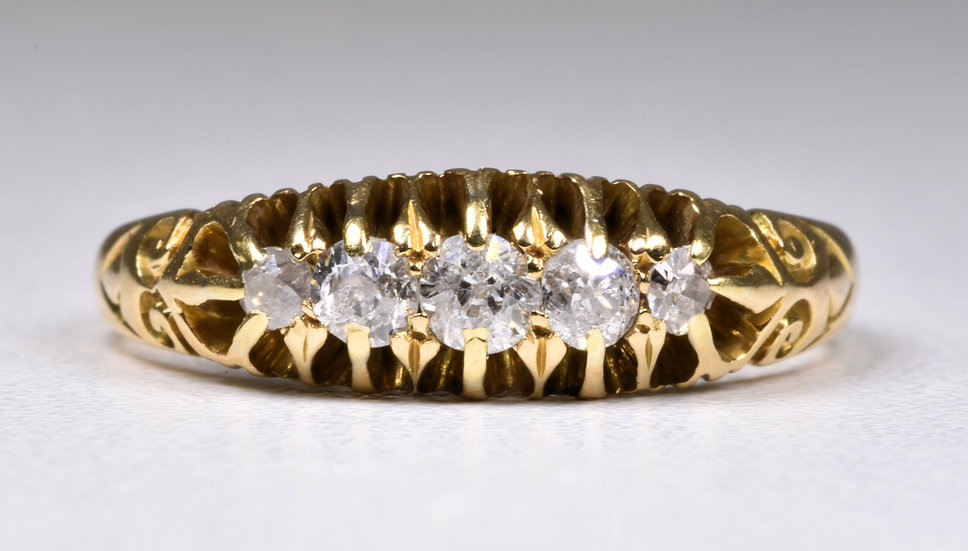 Antique Victorian 18ct Gold 5 Stone Diamond Ring, (Chester, 1898)