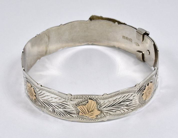 Vintage Solid Silver Buckle Bracelet with Gold Flowers, (Ward Brothers,1951)