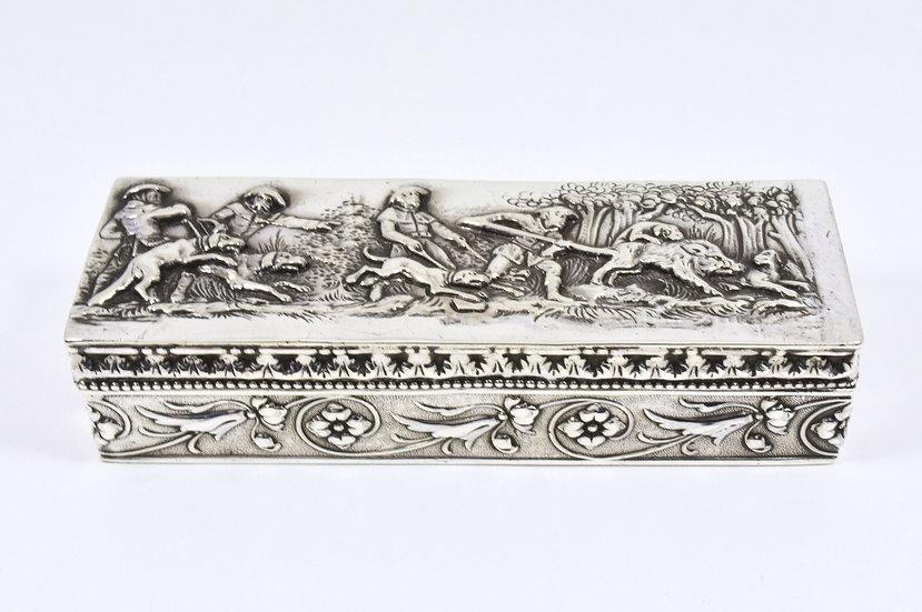 Antique French? Solid Silver Snuff Box Bore Hunting Scene c1820 Edinburgh Import