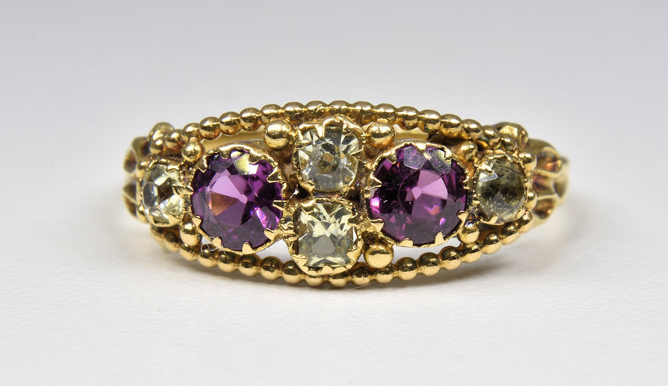 Antique Victorian 15ct Gold Almandine Garnet & Citrine Ring, (c1880)