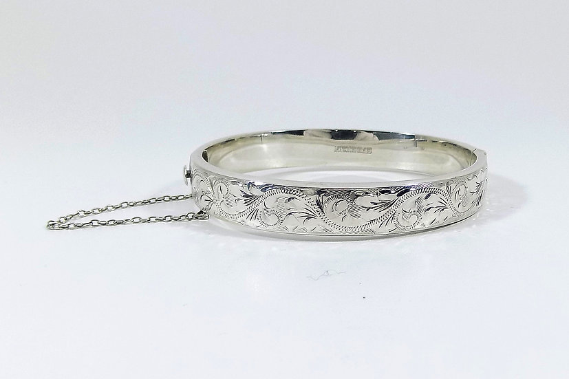 Vintage Solid Silver Hinged Bracelet, 1973, Weight 14.79g