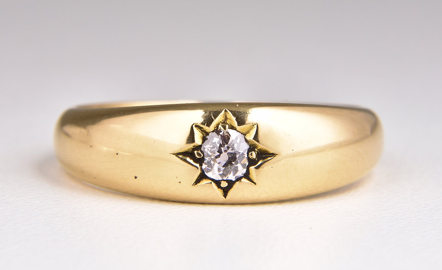Antique Victorian 18ct Gold Diamond Solitaire Gypsy Ring, 1901