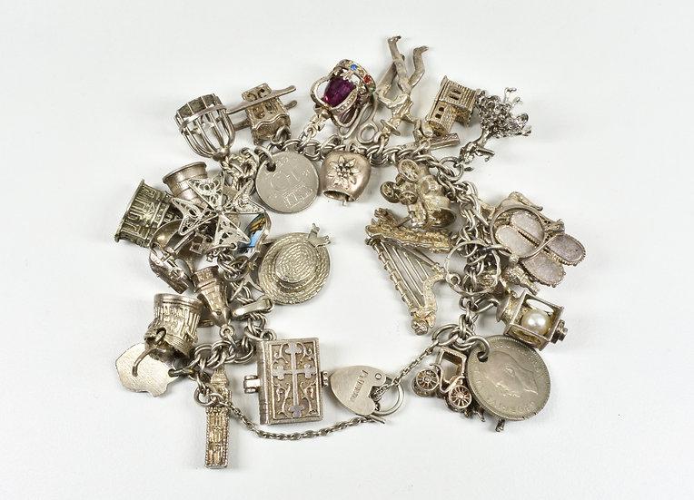 Vintage Silver Charm Bracelet, 32 Charms, 87.15g, Birmingham, 1974