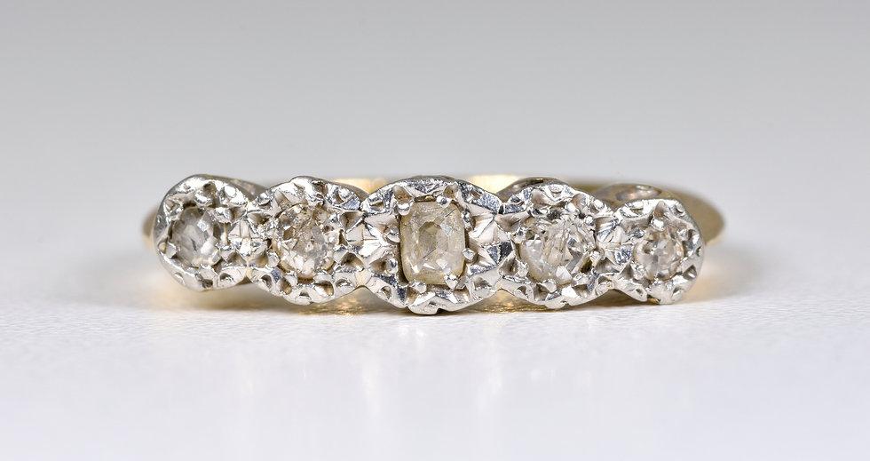 Vintage 18ct Gold & Platinum Diamond 5 Stone Ring, (1950's)
