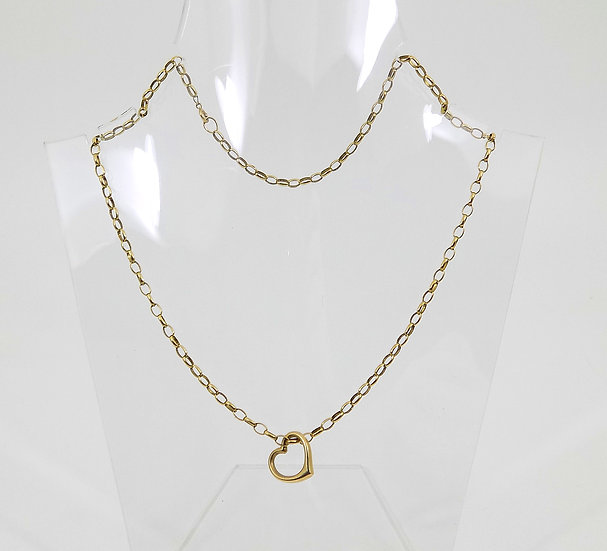 Vintage 9ct Gold Belcher Chain With Heart Pendant