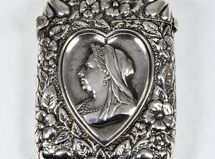 Antique Queen Victoria Diamond Jubilee Solid Silver Vesta Case (1896)