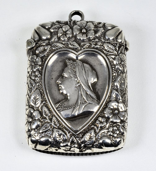 Antique Queen Victoria Diamond Jubilee Solid Silver Vesta Case (1896)