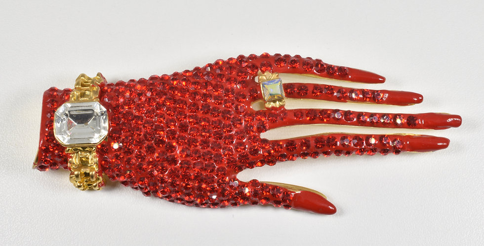 Butler & Wilson Hand Brooch, Swarovski Crystals
