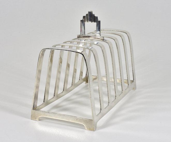 Antique English Art Deco Solid Silver 6 Slice Toast Rack, (William Neale, 1938)