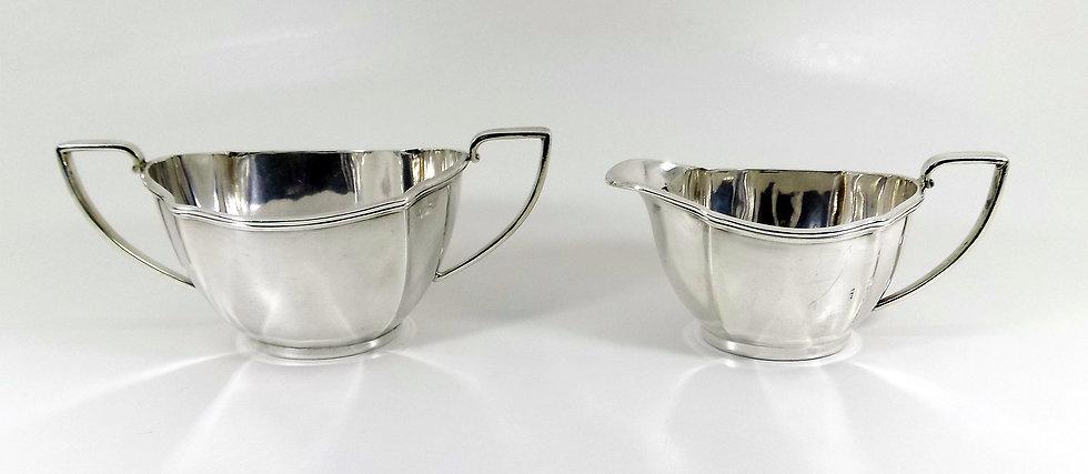 Antique Edwardian Silver Plated Cream Jug & Sugar Bowl (Barker Brothers c1910)