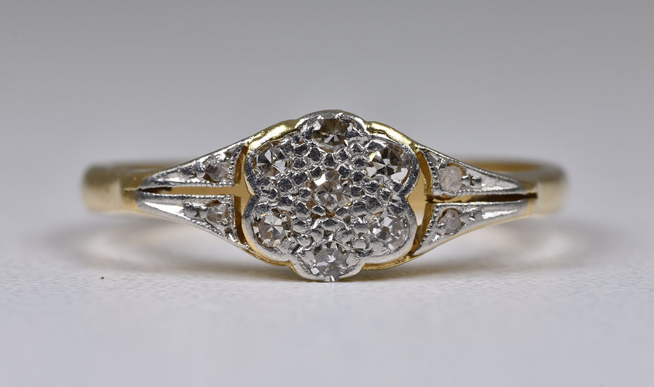 Antique Art Deco 18ct Gold Diamond Ring, (1930's)