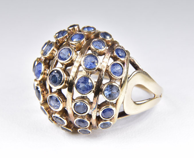 Antique Art Deco 18ct Gold Sapphire Dome Ring, (1930's)