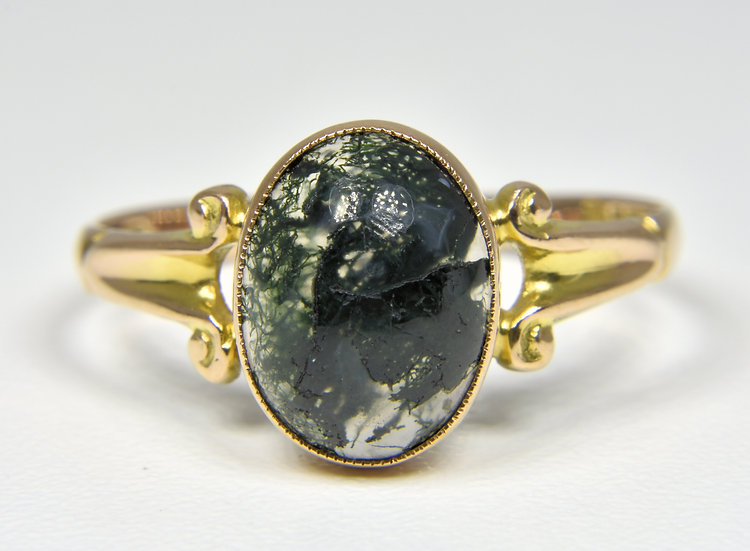 Antique 9ct Gold Moss Agate Ring, (Chester,1921)