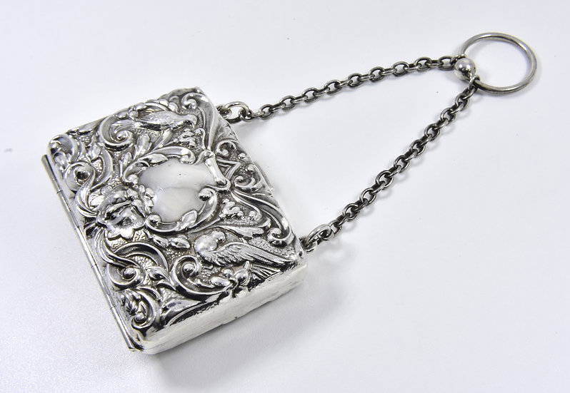Antique English Edwardian Solid Silver Ladies Purse, (A & J Zimmerman Ltd, 1904)