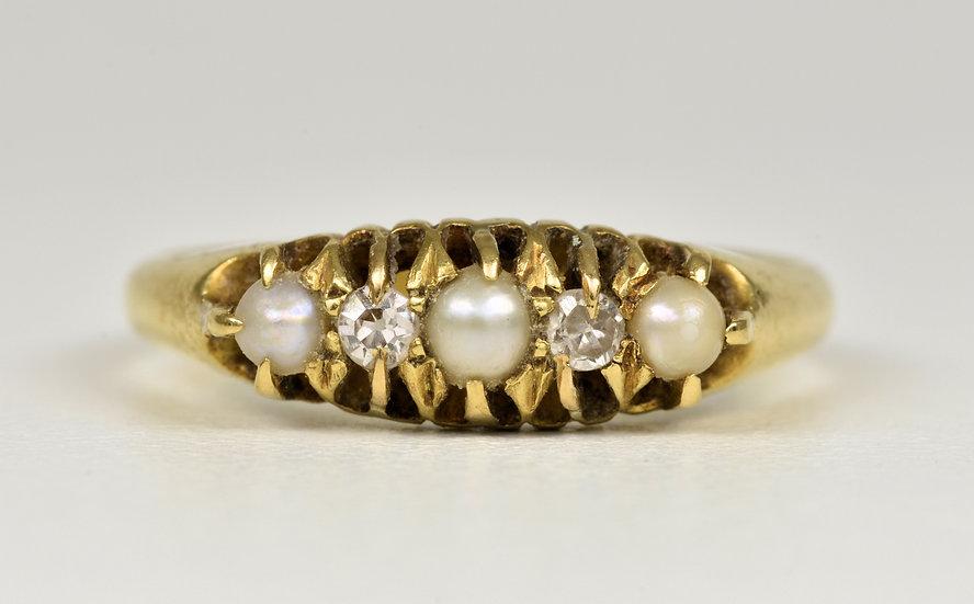Antique George V 18ct Gold Diamond & Half Pearl Ring, (Birmingham, 1914)
