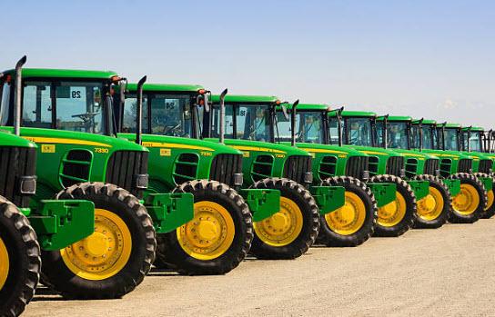 J D Tractors in a row