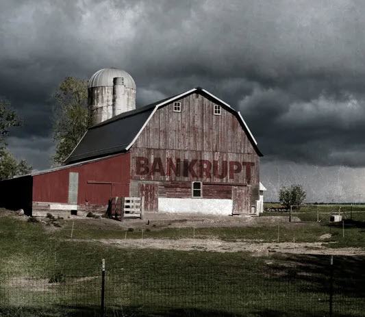 barn w.bankrupt sign