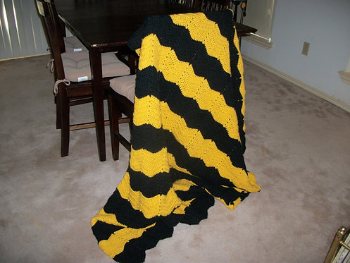 Crocheted Black and Yellow Ripple Afghan