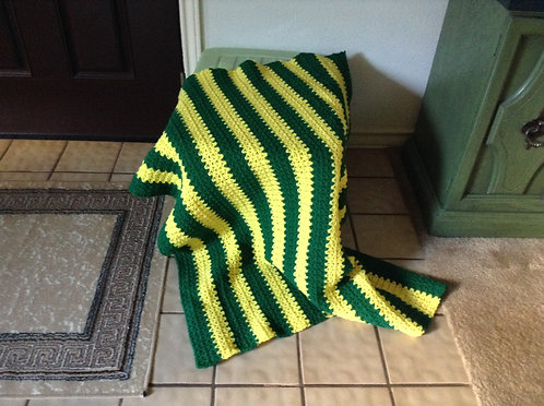 green and yellow child afghan